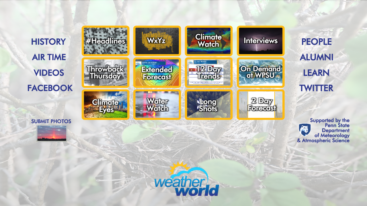 A view of 12 TV screens in the Weather World virtual set